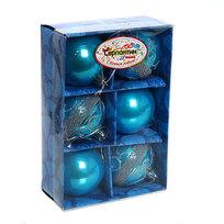 Новогодние шары ″ Синий бум″ 6см (набор 6шт.) купить оптом и в розницу