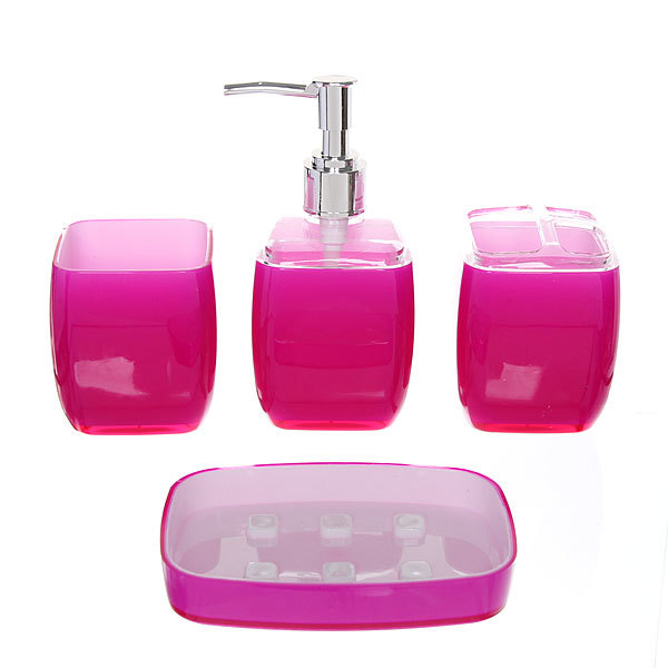 Набор для ванной из 4-х предметов 64121 фиолетовый купить оптом и в розницу