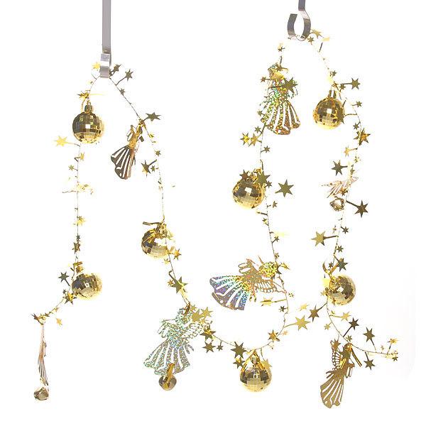 Бусы на ёлку золото 1,5м ″Ангелочки, шарики и звездочки″ купить оптом и в розницу