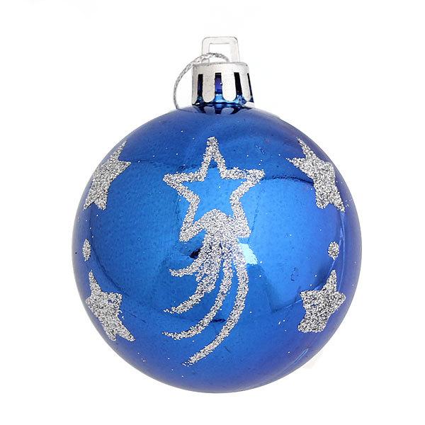 Новогодние шары ″Золотые звезды″ 6см (набор 6шт.) купить оптом и в розницу