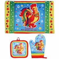 Набор 2 прихватки и полотенце ″Счастье в дом принесу!″, Сказочный петушок купить оптом и в розницу