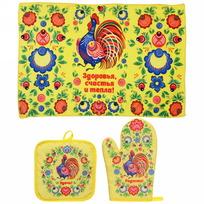 Набор 2 прихватки и полотенце ″Радости!″, Городецкая роспись купить оптом и в розницу