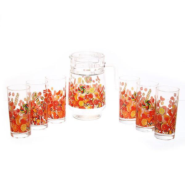 Набор питьевой 7 предметов: Кувшин 1,5л, 6 стаканов 280мл ″Сладости″ 75-80967 купить оптом и в розницу