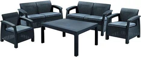 Комплект садовой мебел(ротанг)(2 стула, 2 дивана, стол) Corfu Fiesta  коричневый с подушками купить оптом и в розницу