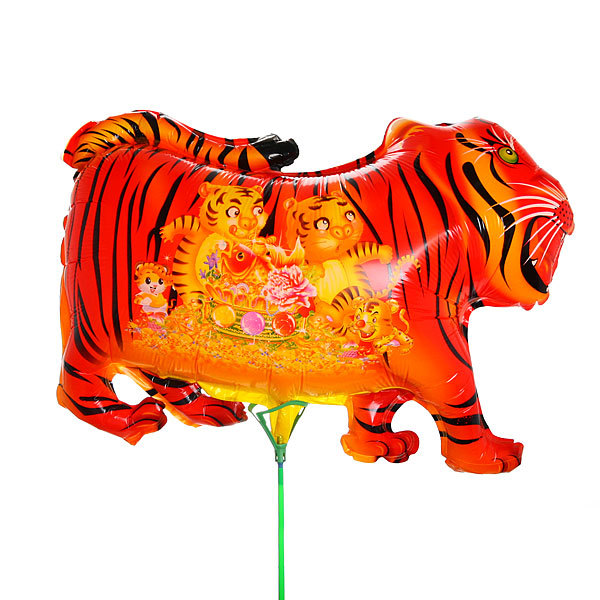 Шар фольгированный 65*50см″Тигр″ в наборе 20шт+палочки с розеткой 3014-3016 купить оптом и в розницу