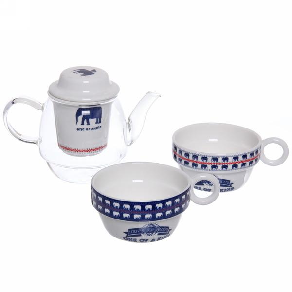 Чайный набор 3 предмета (чайник+2кружки) ″Вязаный″ купить оптом и в розницу