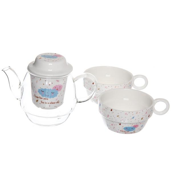 Чайный набор 3 предмета (чайник+2кружки) ″Ассорти″ купить оптом и в розницу