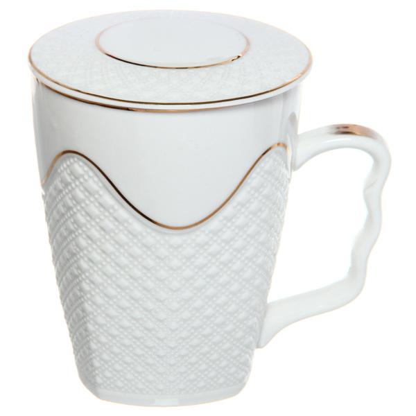 Кружка керамическая с крышкой 350мл ″Версаль″ белая купить оптом и в розницу