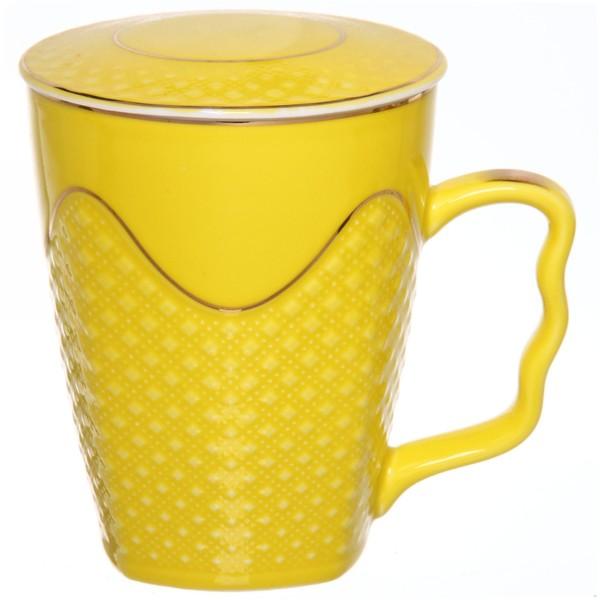 Кружка керамическая с крышкой 350мл ″Версаль″ желтая купить оптом и в розницу