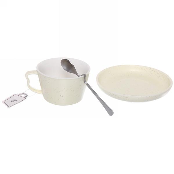 Чайная пара ″Зефир желтый″ (кружка 200мл,блюдце,ложка) купить оптом и в розницу