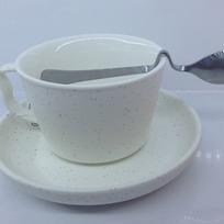 Чайная пара ″Зефир белый″ (кружка 200мл,блюдце,ложка) KS5003 купить оптом и в розницу