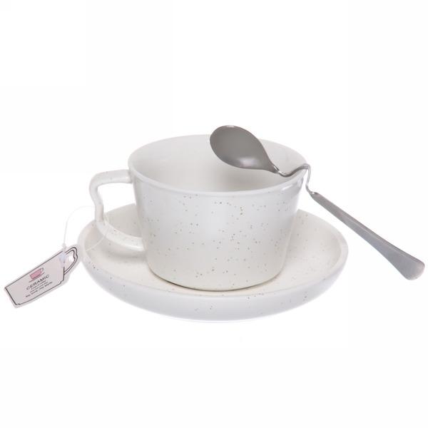 Чайная пара ″Зефир белый″ (кружка 200мл,блюдце,ложка) купить оптом и в розницу