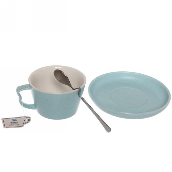 Чайная пара ″Зефир голубой″ (кружка 200мл,блюдце,ложка) купить оптом и в розницу