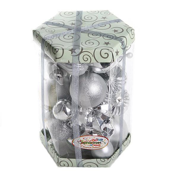 Новогодние шары (30шт) серебро S-12234 купить оптом и в розницу