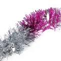 Мишура новогодняя 2 метра 9см ″Зебра″ серебро, розовый купить оптом и в розницу