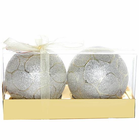 Новогодние шары ″Снежные узоры″ 8см (набор 2шт.) купить оптом и в розницу