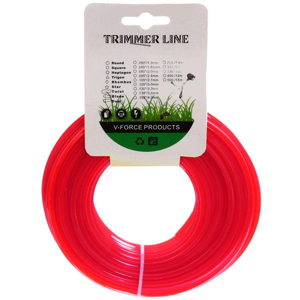 Леска для триммера 1,6ммх15м квадрат красная купить оптом и в розницу