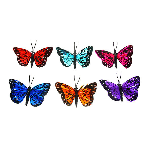 Украшение декоративное 6,5см Бабочка перо на магните 011-6,5 купить оптом и в розницу