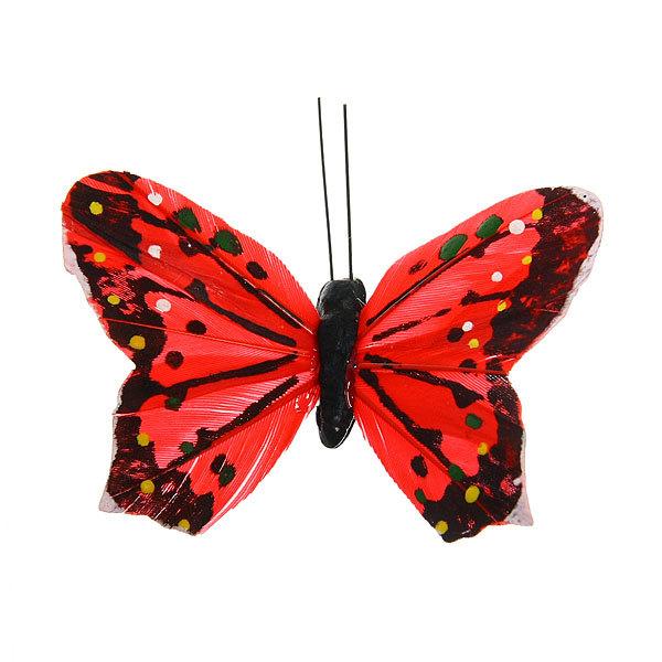 Украшение декоративное 8,5см Бабочка перо на магните 103-8 купить оптом и в розницу