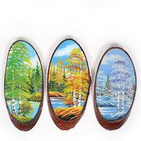 Панно из натурального камня на срезе дерева 30-34 см (Р) купить оптом и в розницу