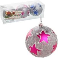 Новогодние шары ″Звезды на серебре″ 8см (набор 3шт.) купить оптом и в розницу