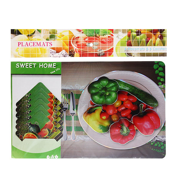 Набор салфеток на стол 42*27см 6+6шт Овощи микс купить оптом и в розницу