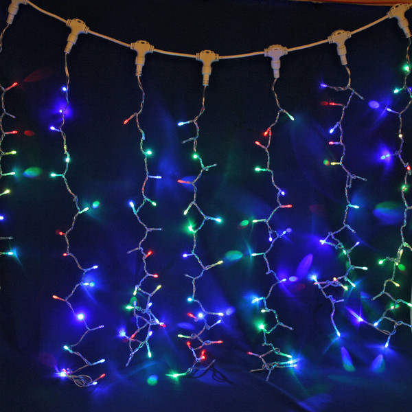 Занавес светодиодный ш 2 * в 1,5м, 276 ламп LED, ″Дождь″, RG/RB (красный, зеленый/красный,синий), 8 реж, прозр.пров. купить оптом и в розницу