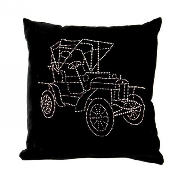 Подушка декоративная 35*35см Laurin & klement черная бархатная со стразами купить оптом и в розницу