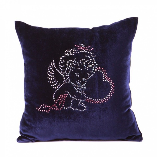Подушка декоративная 35*35см Ангелочек синяя бархатная со стразами купить оптом и в розницу