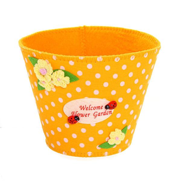 Войлочная корзинка ″Цветочный сад″ оранжевая 13*11 см купить оптом и в розницу