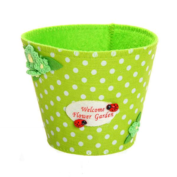 Войлочная корзинка ″Цветочный сад″ зеленая 13*11 см купить оптом и в розницу