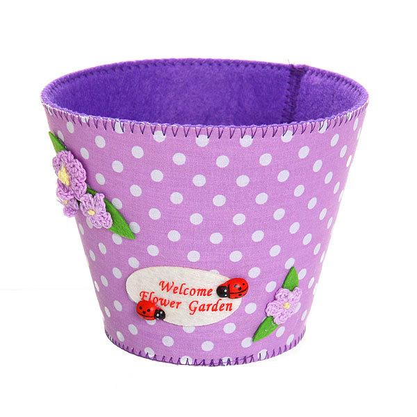 Войлочная корзинка ″Цветочный сад″ фиолетовая 13*11 см купить оптом и в розницу