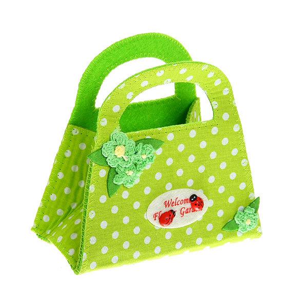 Корзинка сумочка подарочная ″Цветочный сад″ 13*15 см зеленый купить оптом и в розницу