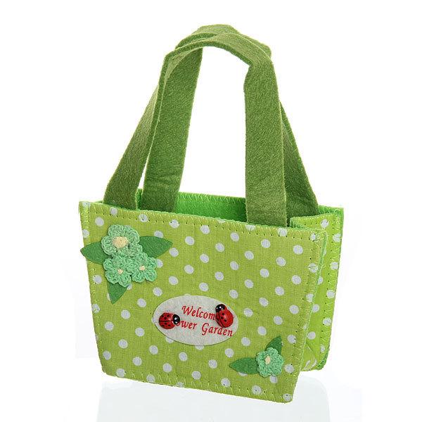 Корзинка сумочка подарочная ″Цветочный сад″ 13*9*6 см зеленый купить оптом и в розницу