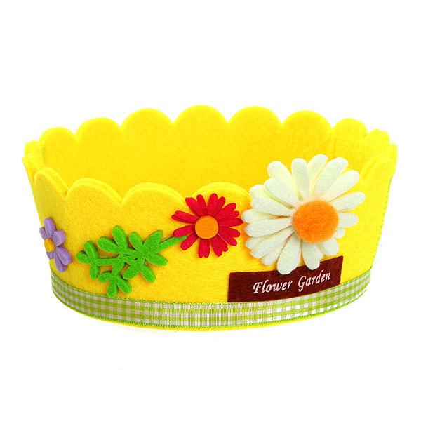 Войлочная корзинка ″Ромашка″, круглая, желтая, 14.5*6 см купить оптом и в розницу