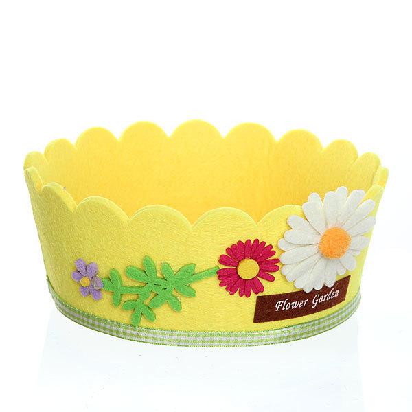Войлочная корзинка ″Ромашка″, круглая, желтая 18*8 см купить оптом и в розницу