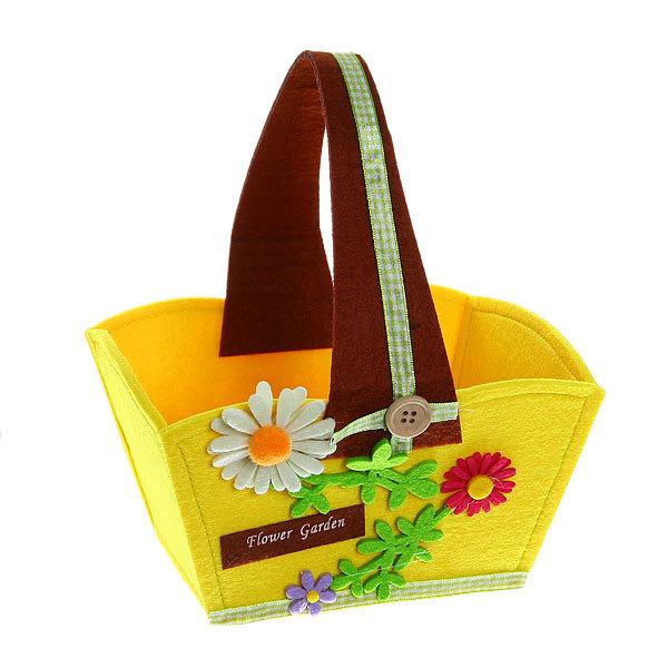 Войлочная корзинка ″Ромашка″, конус, желтая, 20*12*10 см купить оптом и в розницу