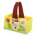 Войлочная корзинка ″Ромашка″, прямоугольная, желтая 17*9*9 см купить оптом и в розницу