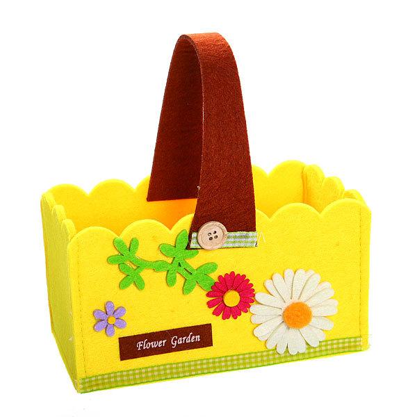 Войлочная корзинка ″Ромашка″, прямоугольная, желтая 21*11*11 см купить оптом и в розницу