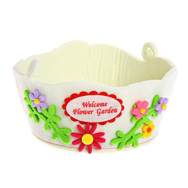 Войлочная корзинка ″Цветы с бабочкой″ белая 16*9*14 см купить оптом и в розницу