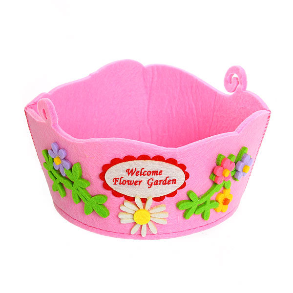 Войлочная корзинка ″Цветы с бабочкой″ розовая 16*9*14 см купить оптом и в розницу