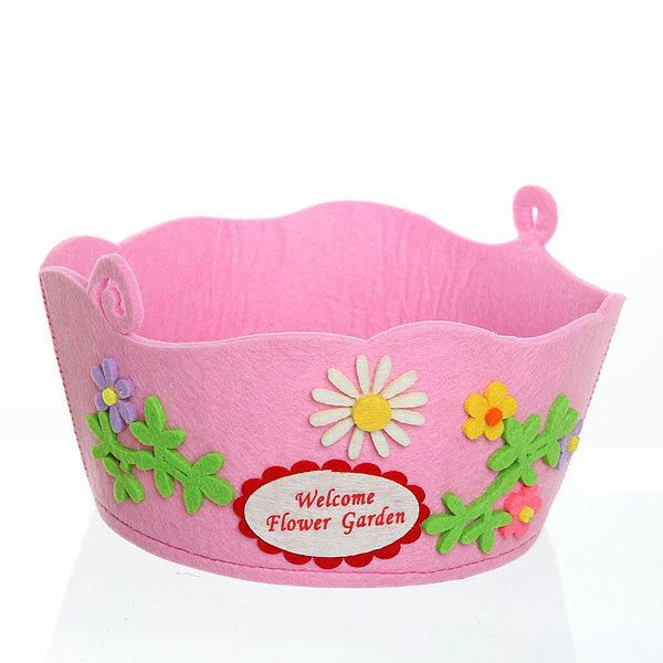 Корзинка подарочная ″Цветы с бабочкой″ d22*10*17 см розовая 03-1936А купить оптом и в розницу