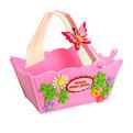Войлочная корзинка ″Цветы с бабочкой″ розовая 18*9*10 см купить оптом и в розницу
