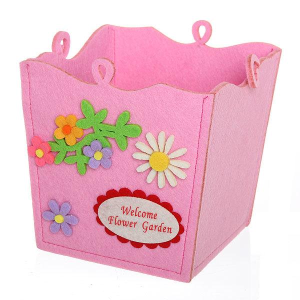 Войлочная корзинка ″Цветы с бабочкой″ розовая 15*15*13 см купить оптом и в розницу