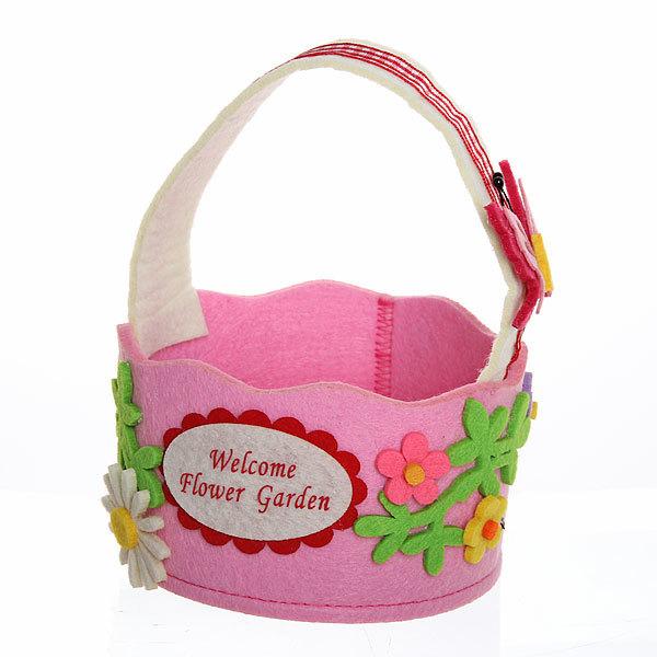 Корзинка подарочная ″Цветы с бабочкой″ d12*7 см розовая 03-1968А купить оптом и в розницу