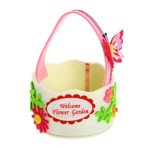 Войлочная корзинка ″Цветы с бабочкой″ белая 12*7 см купить оптом и в розницу