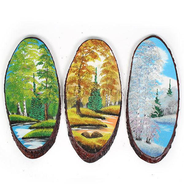Панно из натурального камня на срезе дерева 50-54 см купить оптом и в розницу