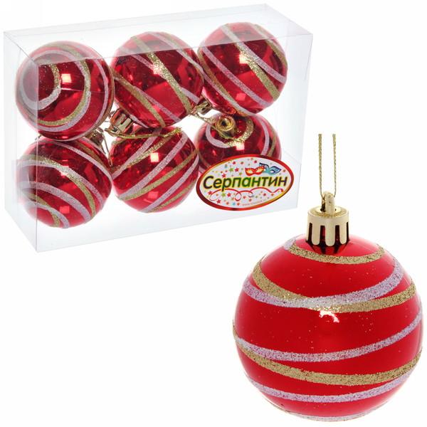 Новогодние шары ″Рубин серпантин″ 6см (набор 6шт.) купить оптом и в розницу