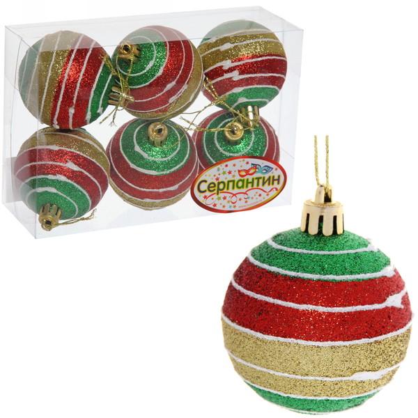 Новогодние шары ″Рождественский серпантин″ 6см (набор 6шт.) купить оптом и в розницу