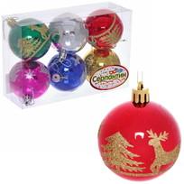 Новогодние шары (6шт) d-6см ″Зимняя Сказка″ Микс 6АС6-В15 купить оптом и в розницу